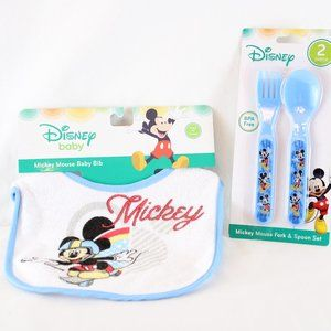 LOT of 2 1 Disney Baby Fork & Spoon 1 Mickey Mouse